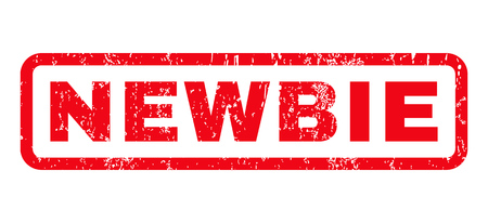 newbie: Newbie text rubber seal stamp watermark. Caption inside rounded rectangular shape with grunge design and scratched texture. Horizontal glyph red ink sticker on a white background. Stock Photo