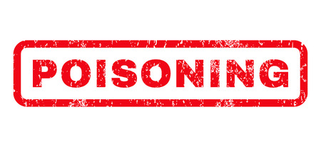 poisoning: Poisoning text rubber seal stamp watermark. Tag inside rounded rectangular shape with grunge design and dirty texture. Horizontal glyph red ink sticker on a white background. Stock Photo