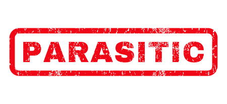 parasitic: Parasitic text rubber seal stamp watermark. Caption inside rounded rectangular banner with grunge design and scratched texture. Horizontal glyph red ink emblem on a white background. Stock Photo