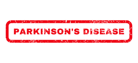 parkinson's disease: ParkinsonS Disease text rubber seal stamp watermark. Tag inside rounded rectangular banner with grunge design and unclean texture. Horizontal glyph red ink emblem on a white background.