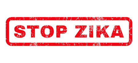 pandemic: Stop Zika text rubber seal stamp watermark. Tag inside rounded rectangular shape with grunge design and dust texture. Horizontal glyph red ink sticker on a white background.