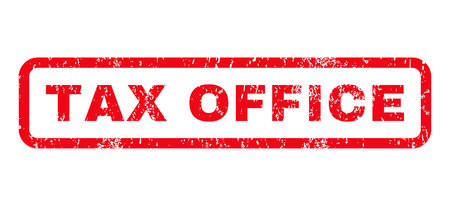 tax office: Tax Office text rubber seal stamp watermark. Caption inside rounded rectangular shape with grunge design and scratched texture. Horizontal glyph red ink emblem on a white background.