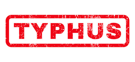 typhus: Typhus text rubber seal stamp watermark. Tag inside rounded rectangular banner with grunge design and scratched texture. Horizontal glyph red ink sign on a white background.