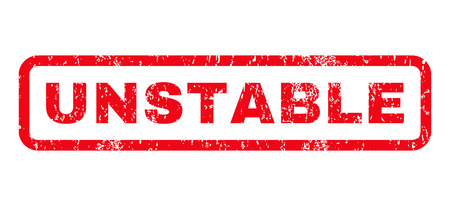 unstable: Unstable text rubber seal stamp watermark. Tag inside rounded rectangular shape with grunge design and dust texture. Horizontal glyph red ink sign on a white background. Stock Photo