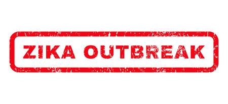 quarantine: Zika Outbreak text rubber seal stamp watermark. Caption inside rounded rectangular banner with grunge design and dirty texture. Horizontal glyph red ink sign on a white background.
