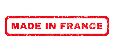 Made In France text rubber seal stamp watermark. Tag inside rounded rectangular banner with grunge design and dust texture. Horizontal glyph red ink sticker on a white background.