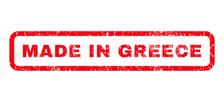grecian: Made In Greece text rubber seal stamp watermark. Caption inside rounded rectangular banner with grunge design and dirty texture. Horizontal glyph red ink sticker on a white background.