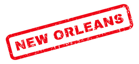 new orleans: New Orleans text rubber seal stamp watermark. Tag inside rounded rectangular shape with grunge design and dust texture. Slanted vector red ink sign on a white background.