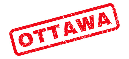 Ottawa text rubber seal stamp watermark. Caption inside rounded rectangular shape with grunge design and scratched texture. Slanted vector red ink sticker on a white background. Illustration