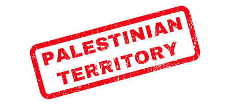 Palestinian Territory text rubber seal stamp watermark. Tag inside rounded rectangular banner with grunge design and scratched texture. Slanted vector red ink emblem on a white background.