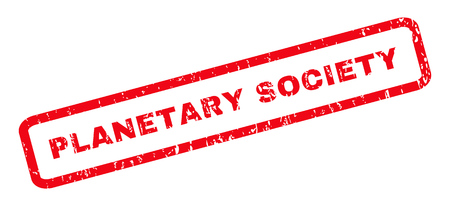 planetary: Planetary Society text rubber seal stamp watermark. Caption inside rounded rectangular banner with grunge design and unclean texture. Slanted vector red ink sticker on a white background. Illustration
