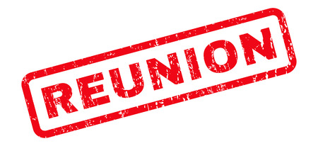reunion: Reunion text rubber seal stamp watermark. Caption inside rounded rectangular shape with grunge design and dirty texture. Slanted vector red ink emblem on a white background.