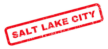 salt lake city: Salt Lake City text rubber seal stamp watermark. Tag inside rounded rectangular banner with grunge design and dust texture. Slanted vector red ink emblem on a white background. Illustration
