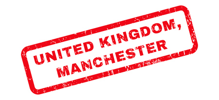manchester: United Kingdom, Manchester text rubber seal stamp watermark. Caption inside rounded rectangular banner with grunge design and unclean texture. Slanted vector red ink sign on a white background.