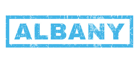 albany: Albany text rubber seal stamp watermark. Tag inside rectangular banner with grunge design and scratched texture. Horizontal vector blue ink sign on a white background. Illustration
