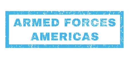 americas: Armed Forces Americas text rubber seal stamp watermark. Caption inside rectangular banner with grunge design and dust texture. Horizontal vector blue ink sign on a white background. Illustration
