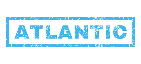 atlantic: Atlantic text rubber seal stamp watermark. Caption inside rectangular shape with grunge design and scratched texture. Horizontal vector blue ink emblem on a white background.