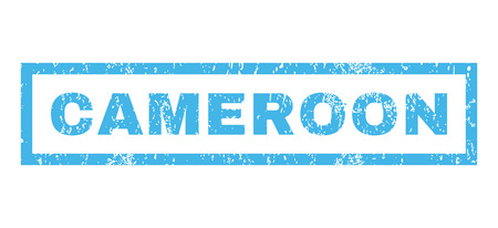 cameroonian: Cameroon text rubber seal stamp watermark. Tag inside rectangular banner with grunge design and dirty texture. Horizontal vector blue ink sticker on a white background.