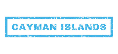 cayman islands: Cayman Islands text rubber seal stamp watermark. Tag inside rectangular banner with grunge design and dust texture. Horizontal vector blue ink sticker on a white background.