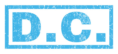 district of columbia: D.C. text rubber seal stamp watermark. Tag inside rectangular shape with grunge design and dust texture. Horizontal vector blue ink sign on a white background. Illustration