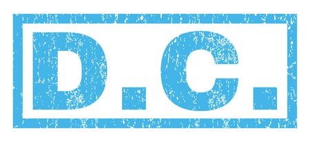 Marca de agua de sello de goma de texto DC. Etiqueta dentro de forma rectangular con diseño grunge y textura de polvo. Signo de tinta azul vector horizontal sobre un fondo blanco. Ilustración de vector