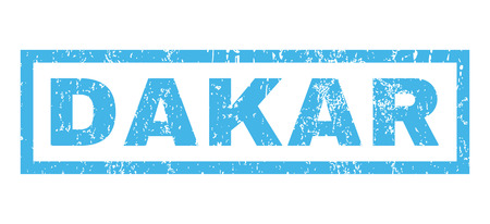 dakar: Dakar text rubber seal stamp watermark. Caption inside rectangular banner with grunge design and unclean texture. Horizontal vector blue ink sticker on a white background. Illustration