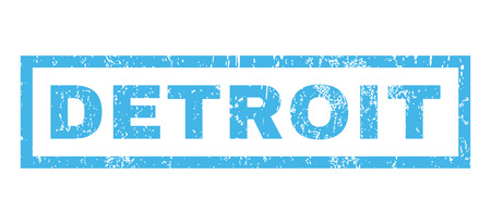 detroit: Detroit text rubber seal stamp watermark. Caption inside rectangular banner with grunge design and scratched texture. Horizontal vector blue ink sign on a white background. Illustration