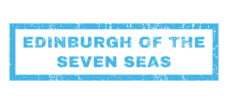 seas: Edinburgh Of The Seven Seas text rubber seal stamp watermark. Caption inside rectangular shape with grunge design and unclean texture. Horizontal vector blue ink sign on a white background.