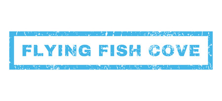 Flying Fish Cove text rubber seal stamp watermark. Caption inside rectangular banner with grunge design and dirty texture. Horizontal vector blue ink sign on a white background.