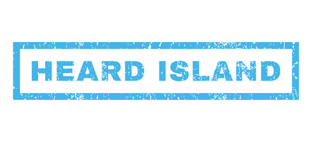 heard: Heard Island text rubber seal stamp watermark. Tag inside rectangular shape with grunge design and scratched texture. Horizontal vector blue ink sign on a white background.