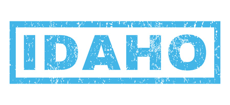Idaho text rubber seal stamp watermark. Tag inside rectangular banner with grunge design and unclean texture. Horizontal vector blue ink emblem on a white background.