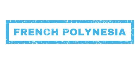 Polynésie française caoutchouc texte joint tampon de filigrane. Tag intérieur bannière rectangulaire avec conception grunge et la texture rayée. vecteur horizontal emblème de l'encre bleue sur un fond blanc.