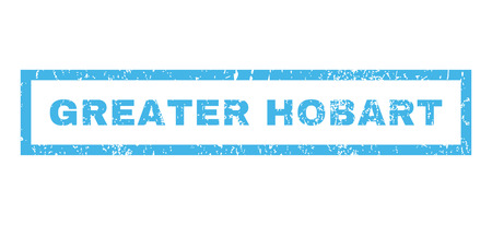greater: Greater Hobart text rubber seal stamp watermark. Caption inside rectangular shape with grunge design and scratched texture. Horizontal vector blue ink emblem on a white background.