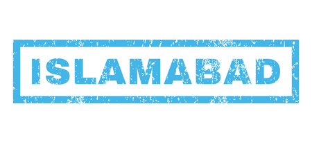 islamabad: Islamabad text rubber seal stamp watermark. Caption inside rectangular banner with grunge design and dirty texture. Horizontal vector blue ink sign on a white background.