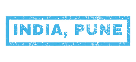 India, Pune text rubber seal stamp watermark. Tag inside rectangular banner with grunge design and dust texture. Horizontal vector blue ink sticker on a white background.