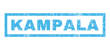 kampala: Kampala text rubber seal stamp watermark. Caption inside rectangular shape with grunge design and scratched texture. Horizontal vector blue ink sign on a white background.
