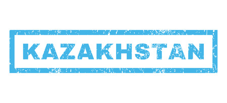 kazakhstan: Kazakhstan text rubber seal stamp watermark. Tag inside rectangular shape with grunge design and dust texture. Horizontal vector blue ink emblem on a white background.