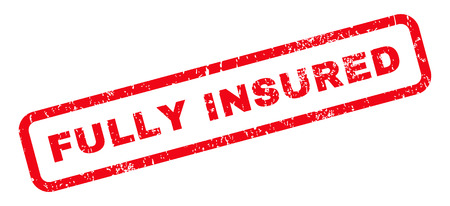 insured: Fully Insured text rubber seal stamp watermark. Tag inside rounded rectangular shape with grunge design and dirty texture. Slanted vector red ink emblem on a white background. Illustration