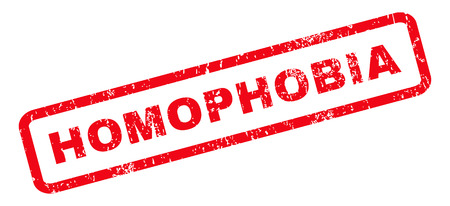 homophobia: Homophobia text rubber seal stamp watermark. Tag inside rounded rectangular shape with grunge design and scratched texture. Slanted vector red ink emblem on a white background.