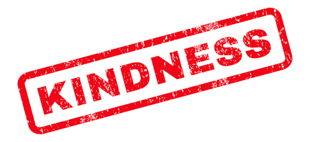 kindness: Kindness text rubber seal stamp watermark. Tag inside rounded rectangular banner with grunge design and dust texture. Slanted vector red ink sticker on a white background. Illustration