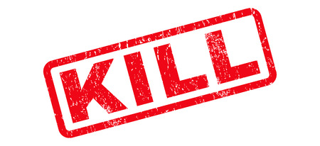 kill: Kill text rubber seal stamp watermark. Tag inside rounded rectangular banner with grunge design and unclean texture. Slanted vector red ink sign on a white background. Illustration