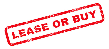 lease: Lease Or Buy text rubber seal stamp watermark. Caption inside rounded rectangular banner with grunge design and dirty texture. Slanted vector red ink emblem on a white background. Illustration