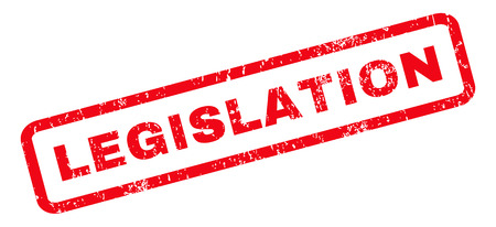 legislation: Legislation text rubber seal stamp watermark. Tag inside rounded rectangular banner with grunge design and dirty texture. Slanted vector red ink sign on a white background.