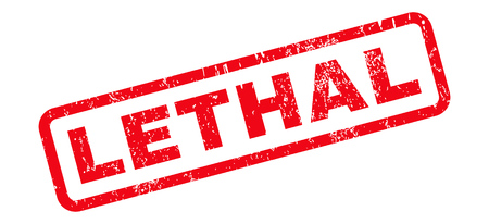 lethal: Lethal text rubber seal stamp watermark. Caption inside rounded rectangular banner with grunge design and dust texture. Slanted vector red ink sign on a white background.