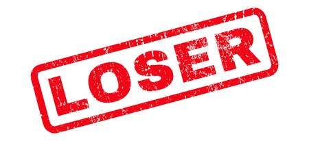 Loser text rubber seal stamp watermark. Caption inside rounded rectangular banner with grunge design and unclean texture. Slanted vector red ink sign on a white background.
