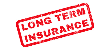 long term: Long Term Insurance text rubber seal stamp watermark. Tag inside rounded rectangular shape with grunge design and dirty texture. Slanted vector red ink sign on a white background.