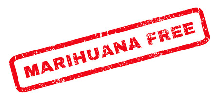 marihuana: Marihuana Free text rubber seal stamp watermark. Caption inside rounded rectangular shape with grunge design and unclean texture. Slanted vector red ink emblem on a white background.