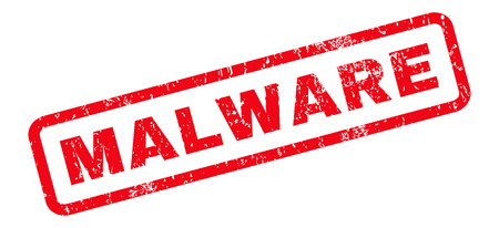 Marca de agua del sello del sello de goma del texto del malware. Etiqueta dentro de forma rectangular redondeada con diseño grunge y textura sucia. Etiqueta inclinada de la tinta roja del vector en un fondo blanco.