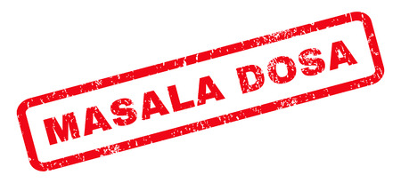 Masala Dosa text rubber seal stamp watermark. Tag inside rounded rectangular banner with grunge design and dust texture. Slanted vector red ink emblem on a white background. Illustration