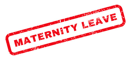 Maternity Leave text rubber seal stamp watermark. Caption inside rounded rectangular shape with grunge design and dirty texture. Slanted vector red ink emblem on a white background.